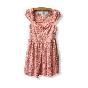 Garage Large blush pink all lace fit flare dress L